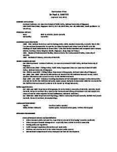 Curriculum Vitae Dr Paul A. BARTER (Updated July 2011)