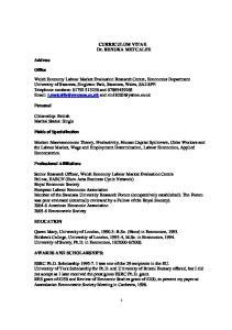 CURRICULUM VITAE Dr. RENUKA METCALFE