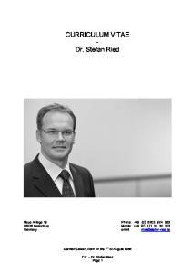 CURRICULUM VITAE - Dr. Stefan Ried