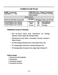 CURRICULUM VITAE EDUCATION DEGREE