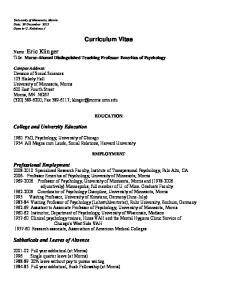 Curriculum Vitae EDUCATION EMPLOYMENT