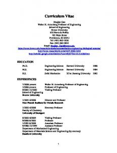 Curriculum Vitae EDUCATION EXPERIENCES