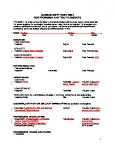 CURRICULUM VITAE FORMAT FOR PROMOTION AND TENURE DOSSIERS