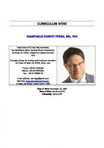CURRICULUM VITAE. GIAMPAOLO ROBERT PERNA, MD, PhD