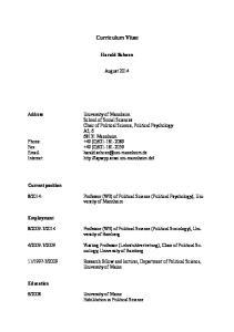 Curriculum Vitae. Harald Schoen. August 2014