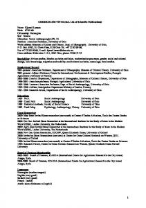 CURRICULUM VITAE (incl. List of Scientific Publications)