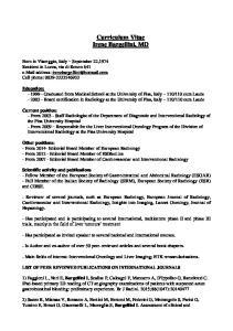 Curriculum Vitae Irene Bargellini, MD