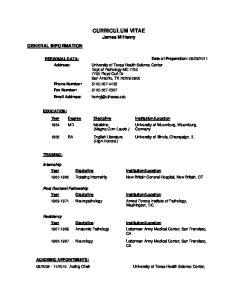 CURRICULUM VITAE James M Henry GENERAL INFORMATION