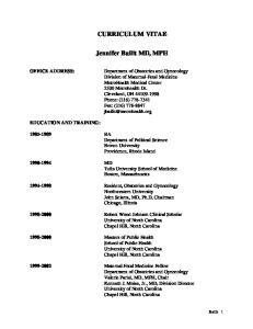 CURRICULUM VITAE. Jennifer Bailit MD, MPH