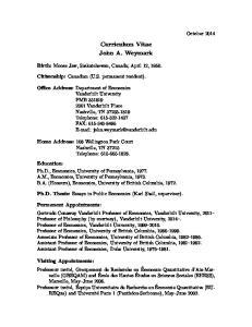 Curriculum Vitae John A. Weymark