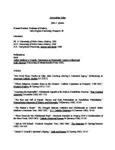 Curriculum Vitae. John F. Quinn