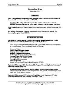 Curriculum Vitae John Liang, Ph.D