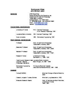 Curriculum Vitae John Michael Lawler