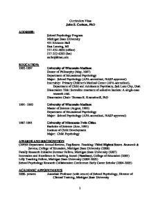 Curriculum Vitae John S. Carlson, PhD