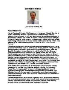 CURRICULUM VITAE. Juan Carlos Zevallos, MD