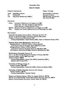 Curriculum Vitae. Kent D. Daniel
