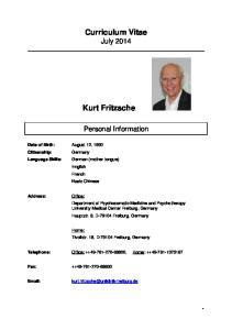 Curriculum Vitae. Kurt Fritzsche