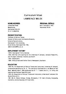 Curriculum Vitae LAWRENCE WILDE