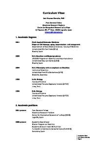 Curriculum Vitae. Luis Vivanco Sierralta, PhD