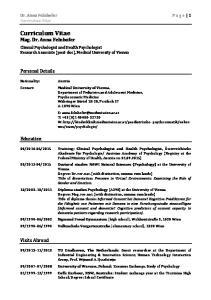 Curriculum Vitae Mag. Dr. Anna Felnhofer