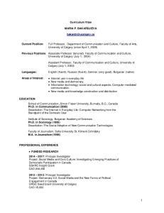 Curriculum Vitae MARIA P. BAKARDJIEVA