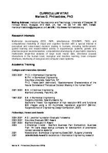 CURRICULUM VITAE Marios G. Philiastides, PhD
