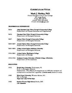 CURRICULUM VITAE Mark J. Hubley, PhD