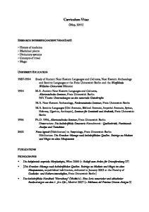 Curriculum Vitae. (May, 2011)