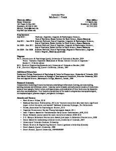 Curriculum Vitae Michael J. Frank