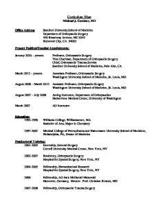 Curriculum Vitae Michael J. Gardner, MD