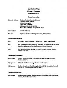 Curriculum Vitae Michael J Ormsbee