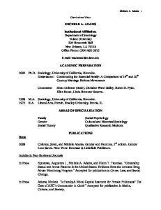 Curriculum Vitae MICHELE A. ADAMS