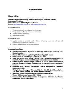 Curriculum Vitae. Mircea Miclea