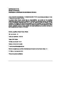 CURRICULUM VITAE (Modelo normalizado) PROFESORA O PROFESOR DE UNIVERSIDAD PRIVADA