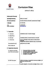 Curriculum Vitae. Moriana, Juan Antonio
