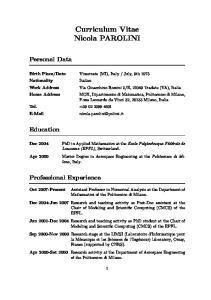 Curriculum Vitae Nicola PAROLINI