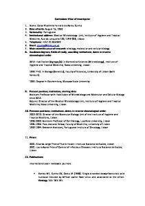 Curriculum Vitae of investigator