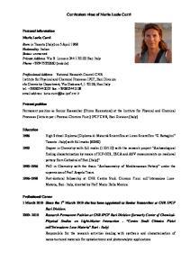 Curriculum vitae of Maria Lucia Curri
