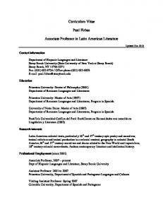Curriculum Vitae. Paul Firbas. Associate Professor in Latin American Literature