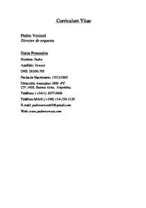Curriculum Vitae. Pedro Vercesi Director de orquesta. Datos Personales