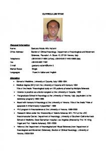 CURRICULUM VITAE Personal Information   Education