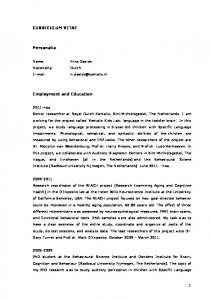 CURRICULUM VITAE. Personalia. Employment and Education
