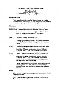 Curriculum Vitae: Peter Jonathan Clark