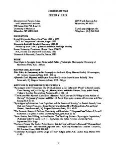 CURRICULUM VITAE PETER Y. PAIK. and Comparative Literature Milwaukee, WI Curtin Hall, P.O. Box 413