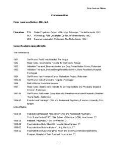 Curriculum Vitae. Pieter Joost van Wattum, M.D., M.A