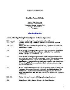 CURRICULUM VITAE. Prof. Dr. Ayhan AKTAR