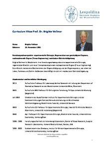 Curriculum Vitae Prof. Dr. Brigitte Vollmar