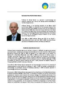 Curriculum Vitae Prof. Dr. Detlev Ganten