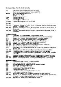 Curriculum Vitae Prof. Dr. Harald Schwalbe
