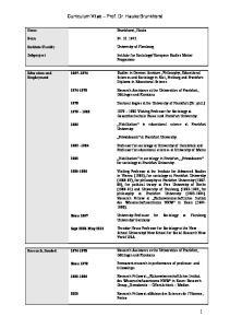 Curriculum Vitae Prof. Dr. Hauke Brunkhorst